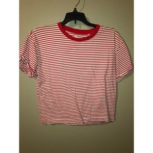 Red and white striped cropped t shirt